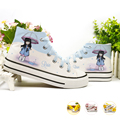hello kitty  Children shoes Spongebob Cartoon Boys Girls Hand Painted Canvas Sneakers kids shoes minions Christmas Pikachu shoes