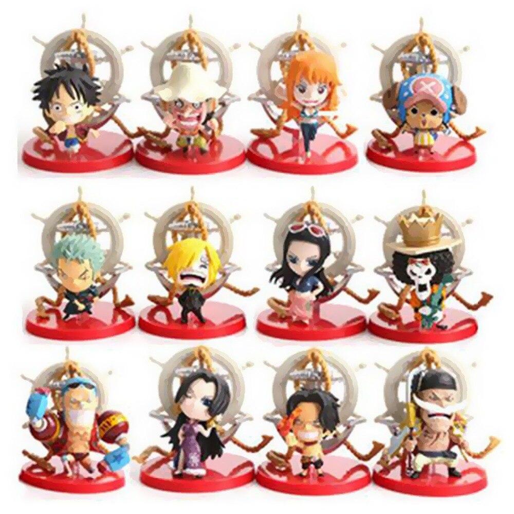 ФОТО Starz 12Pcs/set Cute One Piece PVC Mini Action Figures Collection Toys 6-7cm Monkey D Luffy,Nami,Ace,etc
