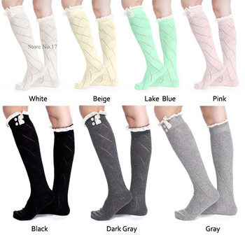 Women button Lace stockings Knitted Boot Cuffs Toppers Boot  Crochet booty Gaiters  24pairs/lot #3874