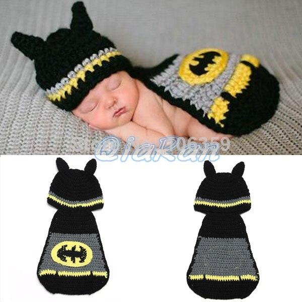 Bebé recién nacido Batman patrón de Crochet sombrero infantil ...