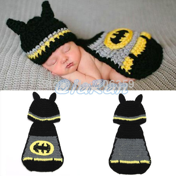 Newborn Baby Batman Hat Crochet Pattern Infant Photography Props