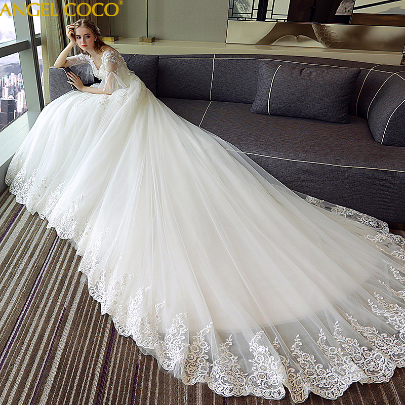 Pregnant Women Wedding Dress Trailing Princess Dream Bride Female High Waist Plus Size Maternity Dresses Pregnancy Clothes 2018