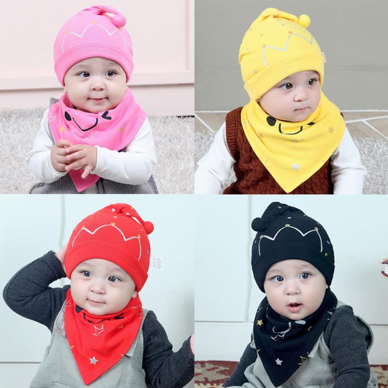 2 pcs/set New Baby Hat Bib Set Cartoon Cotton Beanie Baby Boy Girls Hats Kids Hat Photo Accessories For Photography