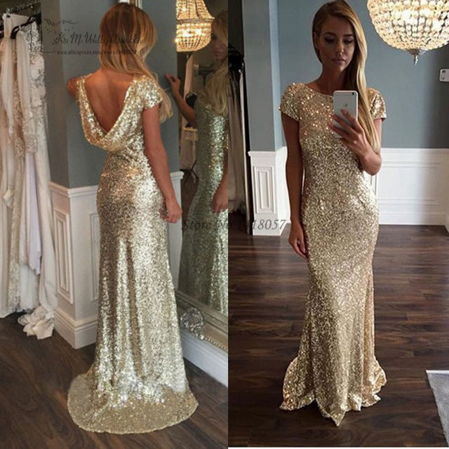 3328fb5bf197 Cheap Gold Sequin Evening Gowns Backless African Mermaid Prom Dresses Formal  Women Gowns Cap Sleeve Abendkleider Robe de Soiree