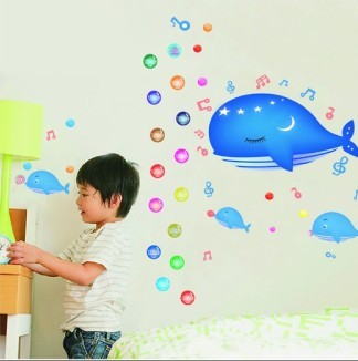 Three generations of small whale wall stickers notes child real bathroom baby sticker