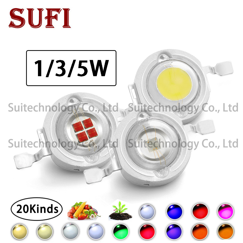 50pcs High Power 1W 3W 5W LED Chip Warm Natural Cold Cool White Red Green Blue Orange Full Spectrum For DIY Spotlight Grow Light