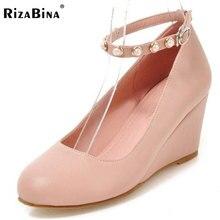 Rizabina Женщины высокие клинья Chaussures женщин Пряжка на щиколотке, Цвет ботинки на каблуках дамы ежедневно обувь для вечеринок Размеры 33-43