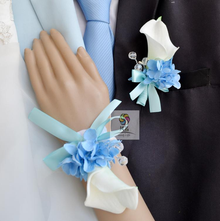 Handmade Wedding Corsages Groom Boutonniere Bride Bridesmaid Hand Wrist Flower Blue White Artificial PU Calla Lily Flowers New