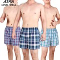 2017 Classic Plaid Men Boxer Shorts Mens Underwear Trunks Cotton Cuecas Underwear Boxers Woven Homme Boxer Arrow Panties 5pcs