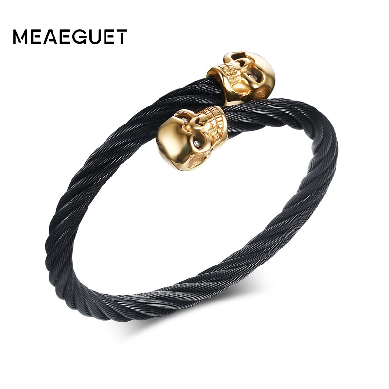 Meaeguet Gold-color Skull Black Bangles Stainless Steel Wire Cable Chain Cuff Elastic Adjustable Men's Punk Bracelet