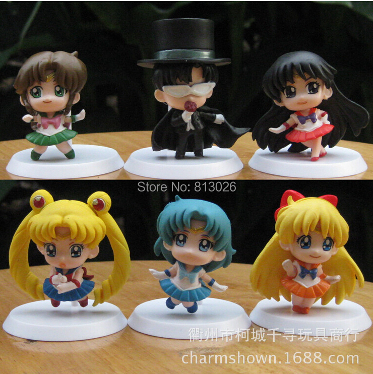 Q Version Sailor Moon Mars Mercury Jupiter Venus Action Figure PVC Collection figures toys for christmas gift brinquedos 6pcs set sailor moon tsukino usagi chibi usa sailor mars mercury venus jupiter kimono pvc action figure model toys 5cm kt3731