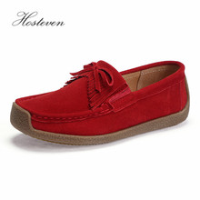 Hosteven Womens Shoes Genuine Leather Flats Female Casual Flat Woman Loafers Spring Summer Autumn Black