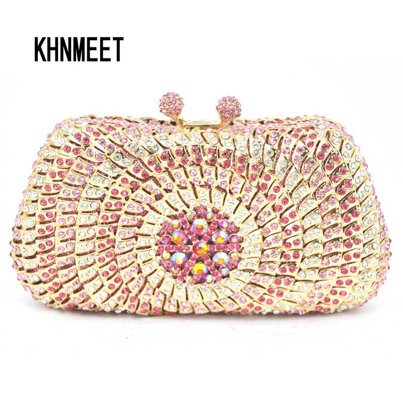 Pink Evening Dress Bag Women Dinner Clutch Bag Pochette Soiree Lady Clutches With Crystals Pearl Diamond party Purse SC248 soiree entertaining with style