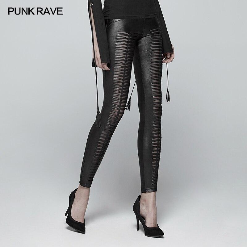 Neue Punk Rave Mode Schwarz Aushöhlen Gothic Stretchy Dünne Anliegende Frauen Sexy Leggings Hosen WK342BK