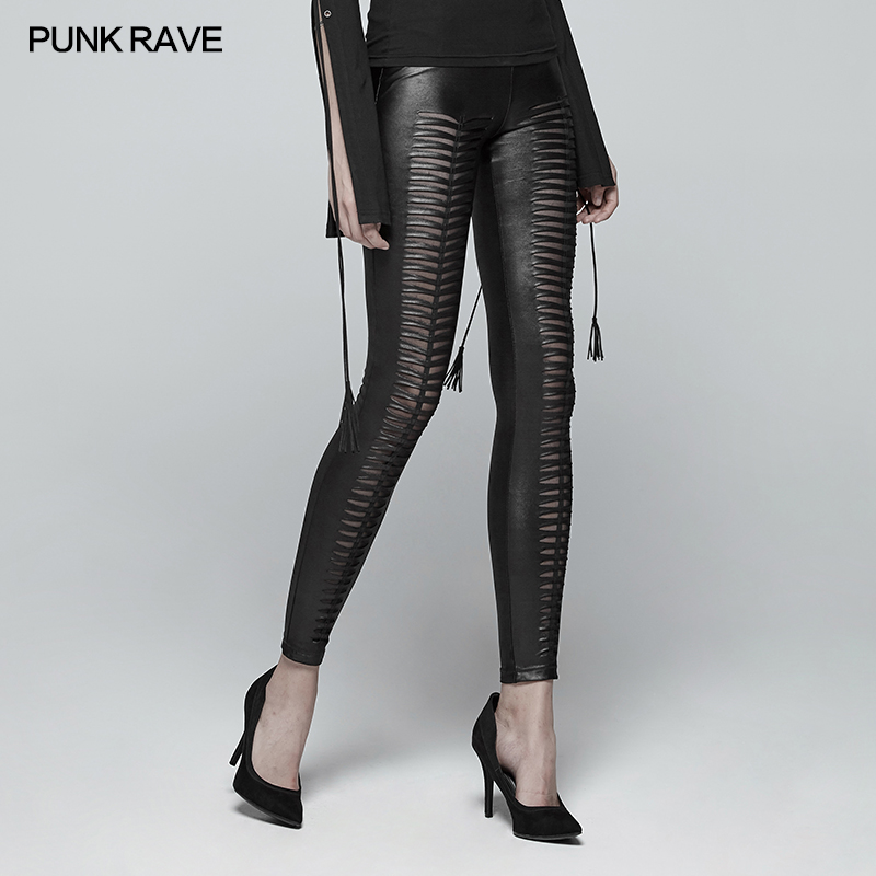 New Punk Rave Fashion Black Hollow Out Gothic Stretchy Slim Fitting Women Sexy Leggings Pants WK342BK