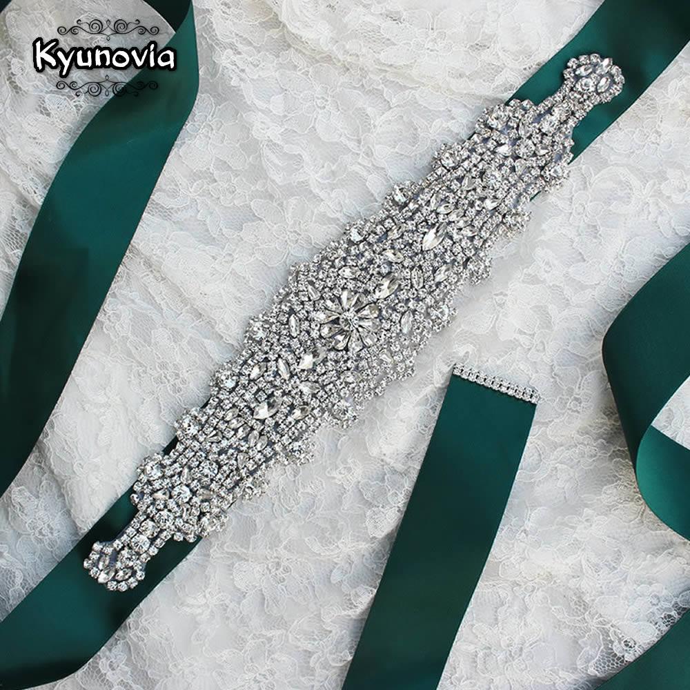 Kyunovia boda cinturón de diamantes de imitación de cintura de cinturones de novia fiesta novia dama de honor vestido cinturón faja FB21