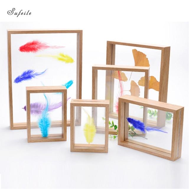 SUFEILE  DIY plant specimen photo frame Wooden creative decorative frame 10 inch/8 inch HD glass specimen photo frame D50