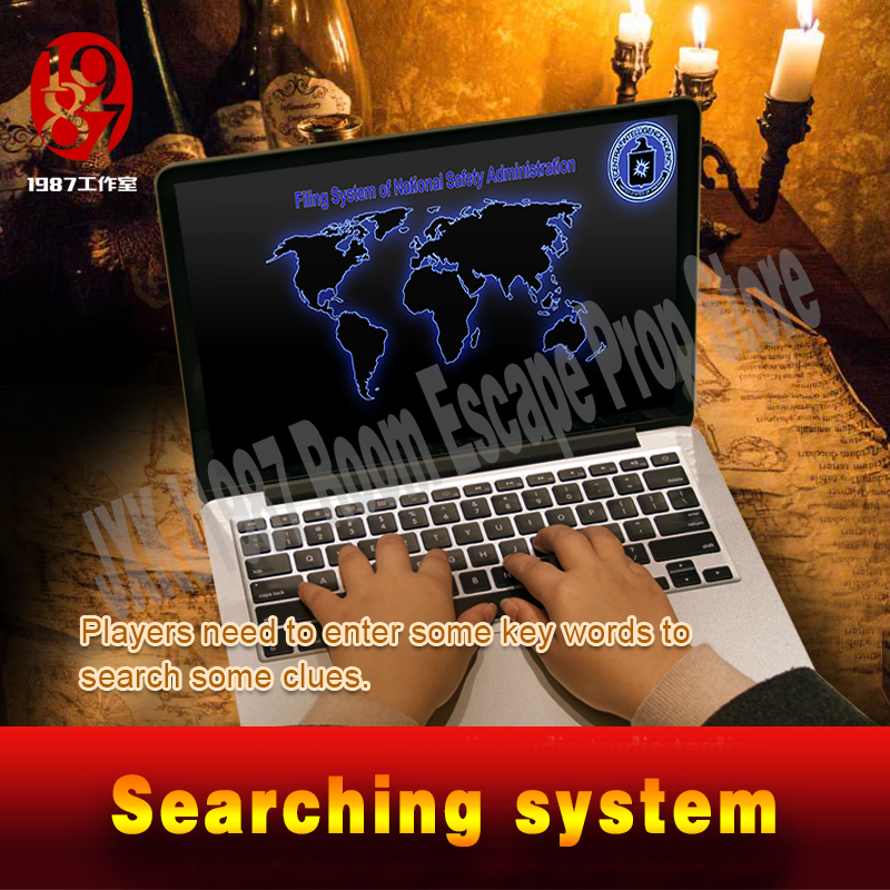 Real life escape room game prop searching system to get clues for escape mysterious room adventure