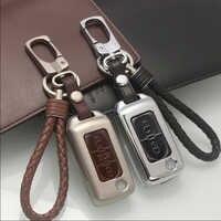 Boîtier de couverture à distance en alliage de Zinc + cuir pour Peugeot 107 206 207 208 306 307 308 407 pour citroën C2 C3 C4 C5 C6 Quatre