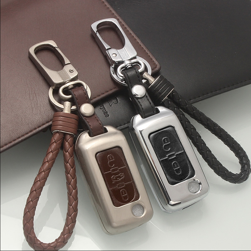 Zinc alloy+Leather Car Key Fob Remote Cover Case For Peugeot 107 206 207 208 306 307 308 407 For Citroen C2 C3 C4 C5 C6 Quatre genuine leather key cover for citroen c2 c3 c4 c5 c6 xsara quatre picasso peugeot 206 307 308 407 408 rcz key chain case keybag