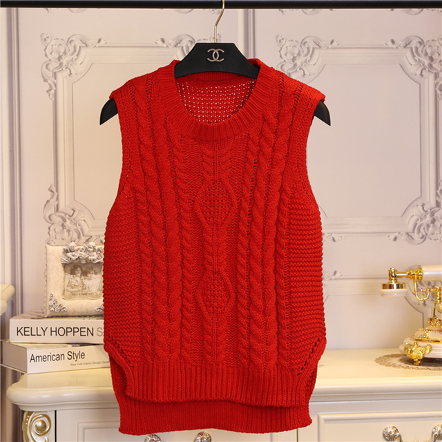 fashion preppy style short design sleeveless pullover sweater female autumn spring vest women o-neck Solid color girl clothing
