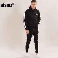 Aismz Men Sets Fashion Long Sleeve Slim Sweat Suits Hoodies Tracksuit Sweatshirt Two Piece Trousers male jacket + Pants Exercise