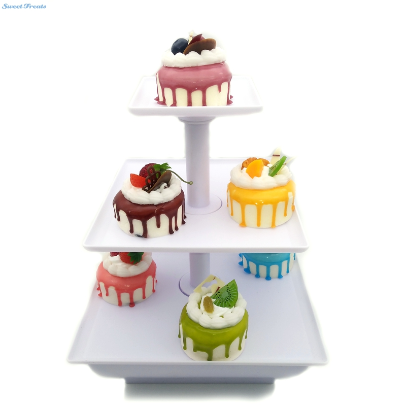 Sweettreats Three Tier Server Station - Dessert Tray - Cupcake Stand - Food Display Cake Stand Tools