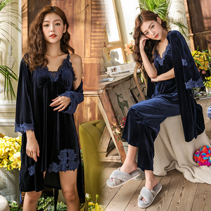 Image 2 - Gold Velvet 4 Pieces Winter Pajamas Sets Women Sexy Lace Robe Pajamas Sleepwear Sleeveless Nightwear Robe Gown Set