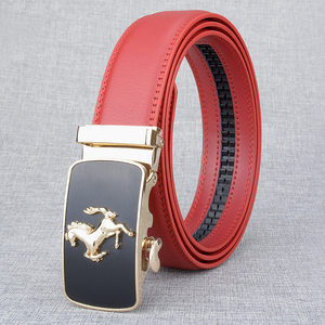 Image 5 - Cinturón de piel auténtica con hebilla automática para hombre, cinturones hebilla de aleación, de lujo