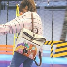 Сумки для 2017, женская обувь ранцы Сумки на плечо Винтаж кожа женственный рюкзак молодежный опрятный студенты рюкзак для подростков мультфильм