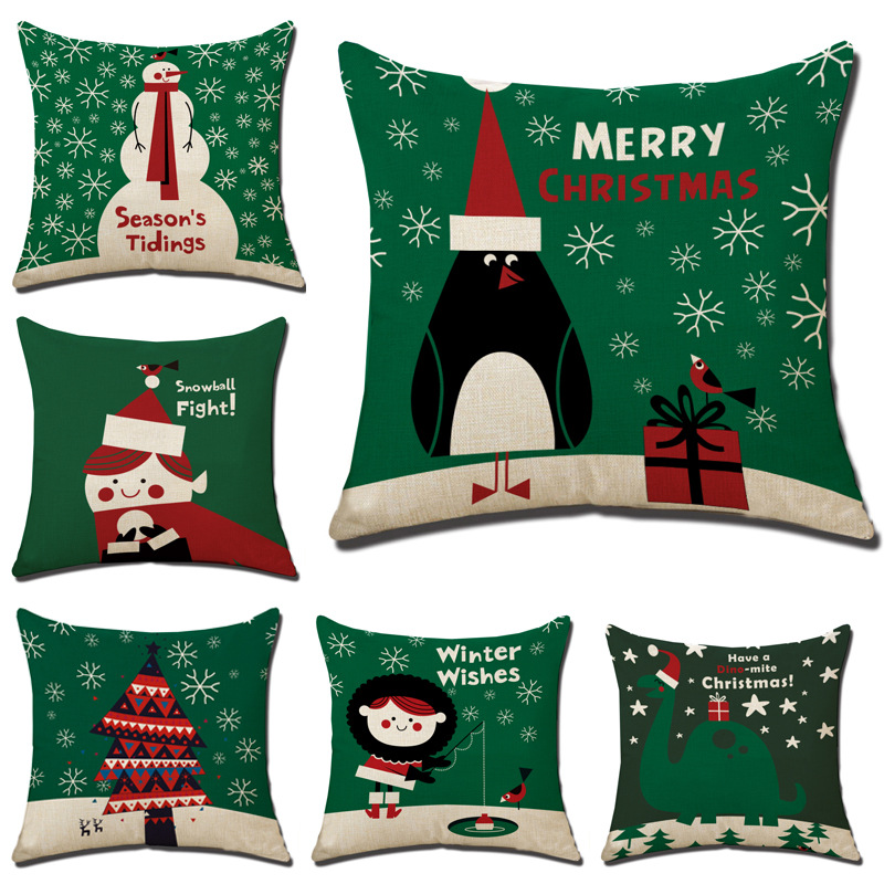 Christmas Xmas Linen Cushion Cover Throw Pillow Case Home: 45x45cm Halloween Christmas Cushion Cover Throw Pillows