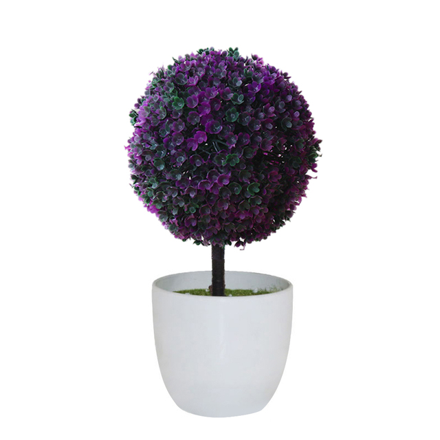 Artificial Potted Ornament Topiary Ball Shape Bonsai Fake Plant Home Decor Exy
