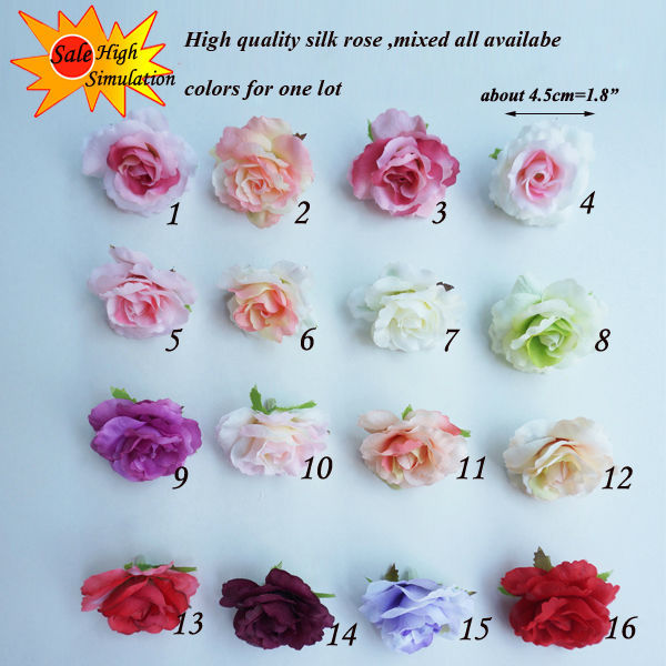 100pcs brand artificial silk flower mini rose heads for Flower heads for crafts