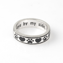Dog Footprints Love Heart Jewelry Ring