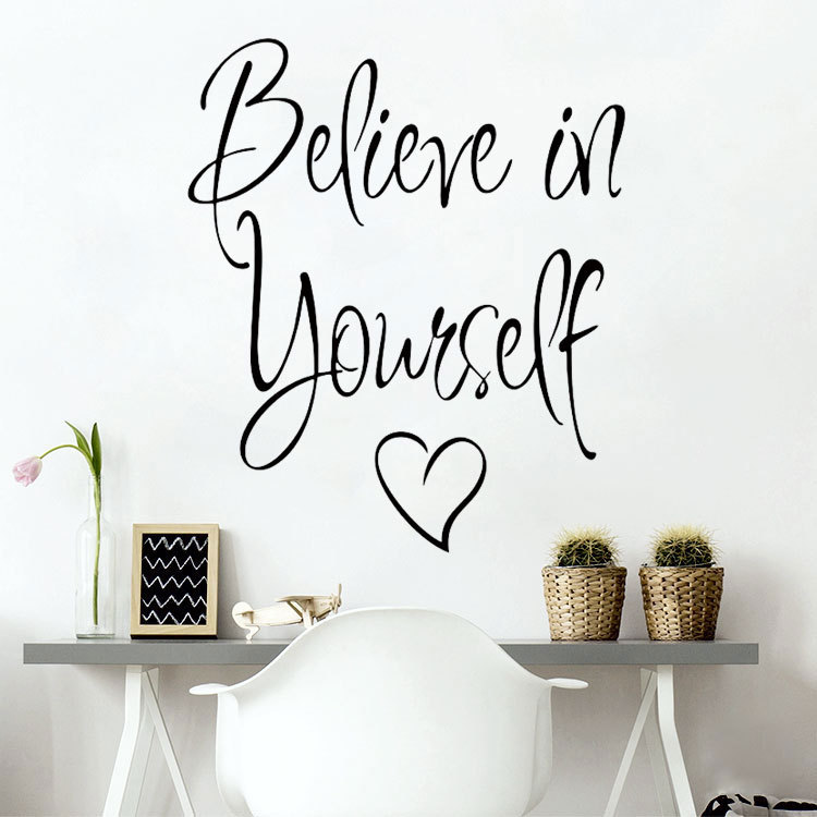 wall stickers decor believe vinyl removable quote decal yourself decorative diy creative quotes sticker room pcs decals mural teenager moon