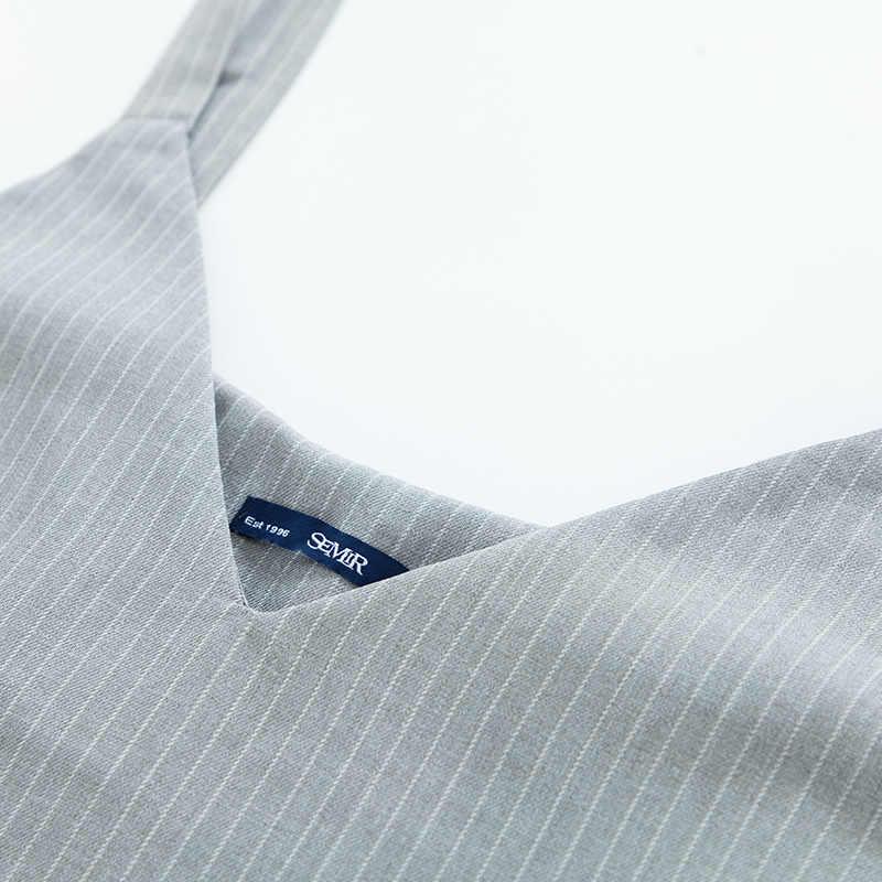 SEMIR, однотонное платье, повседневное, длинный рукав, эластичная футболка, платья, комплект из 2 предметов, женские осенние, минималистичные, прямые, короткие, вечерние платья