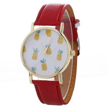 Fashion Creative Women's Quartz Wristwatch Leather Women's Bracelet Watch Dress Watch Reloj Mujer Lovely Small Pineapples Clock