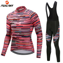 FUALRNY New Pro Team Men Womens Long Sleeve Cycling Jersey Set Autumn Winter MTB Racing Bicycle Clothing Uniform Ropa Ciclismo