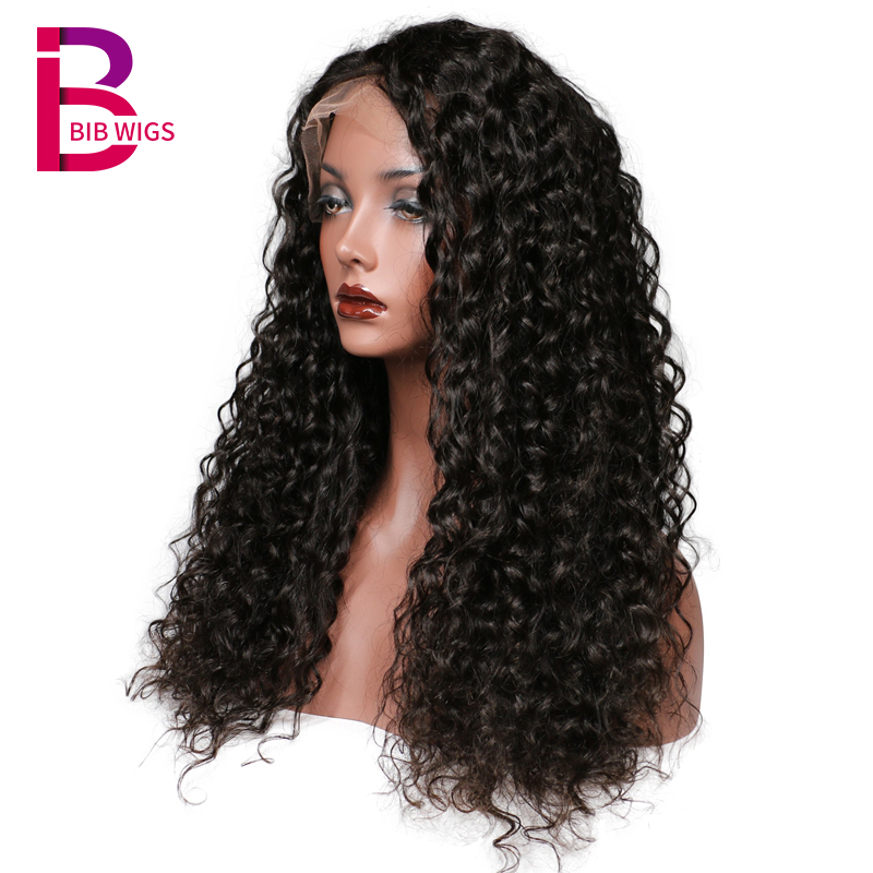 Brazilian Remy Deep Curly Lace Front Human Hair Wigs For Women Pre Plucked Human Hair Black