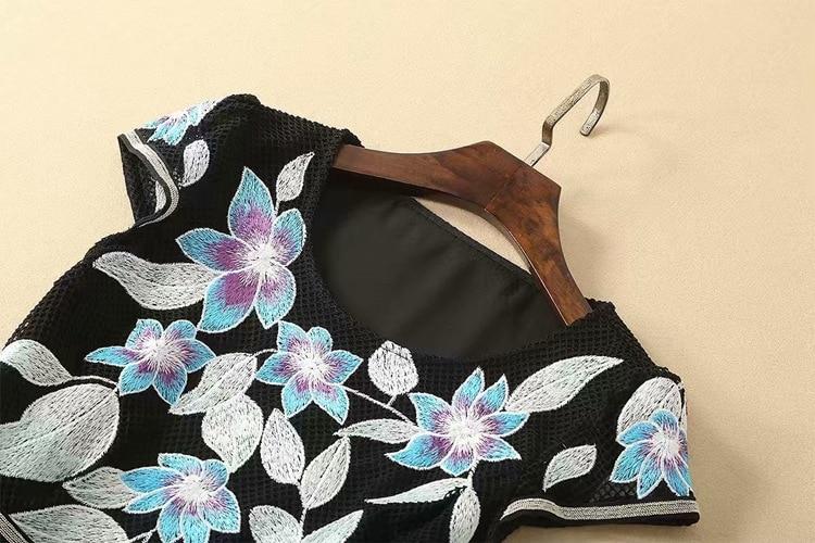 Swing Broderie Vintage Élégant Nouvelle Maille D'origine Robes cou 2019 Noir Q1101 Robe D'o ligne À Manches Courtes Femme A wxACqO