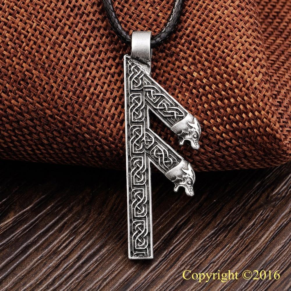 LANGHONG Přívěsek starší Futhark Rune NECKLACE ANSUZ Rune Yggdrasil Viking Amulet PENDANT Náhrdelník s přívěskem Runic Nordic Talisman
