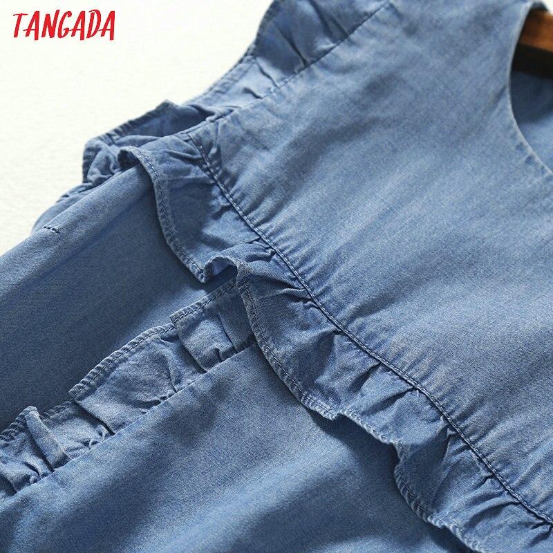 Tangada женское джинсовое платье с оборками без рукавов с круглым вырезом винтажное модное повседневное прямое платье vestidos feminina 2P10