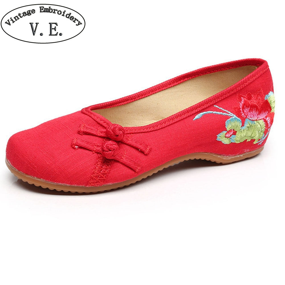 National Women Shoes Flats Lotus Embroidery Slip On Canvas Simple Comfortable Old Peking Ballerina Shoes Woman Sapato Feminino summer women flats shoes old peking goldfish embroidery loafers slip on casual national dance ballet shoes woman zapatos mujer