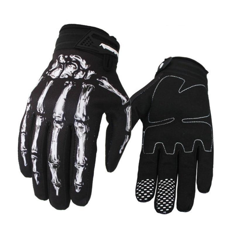 Unisex Women Men Motorcycle Cycling Gloves Skull Skeleton Goth Racing Full Finger Gloves