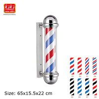 Black And White 317D Pattern Roating Stainless Steel Barber Pole With Lamp Beauty Salon Equipment Barber