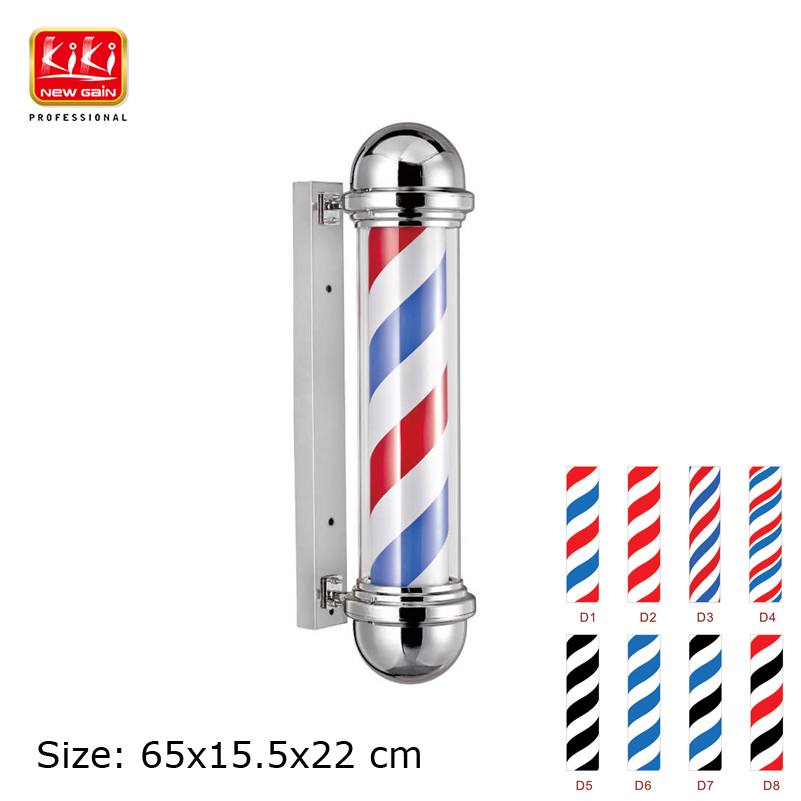 317D pattern Roating Stainless steel Barber Pole with lamp.beauty Salon Equipment AUTOMATIC ROTATION BARBER SIGN POLE