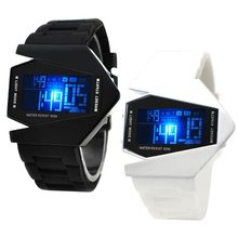 Fashion Unisex Watches Led Digital Watches Men Women Led Aircraft Watches Bomber Flashlight LED Military Sport Watches Men cheap WoMaGe Fashion Casual Stainless Steel 24cm Buckle No waterproof Stop Watch LED display Complete Calendar Alarm 44mm led watch 160871
