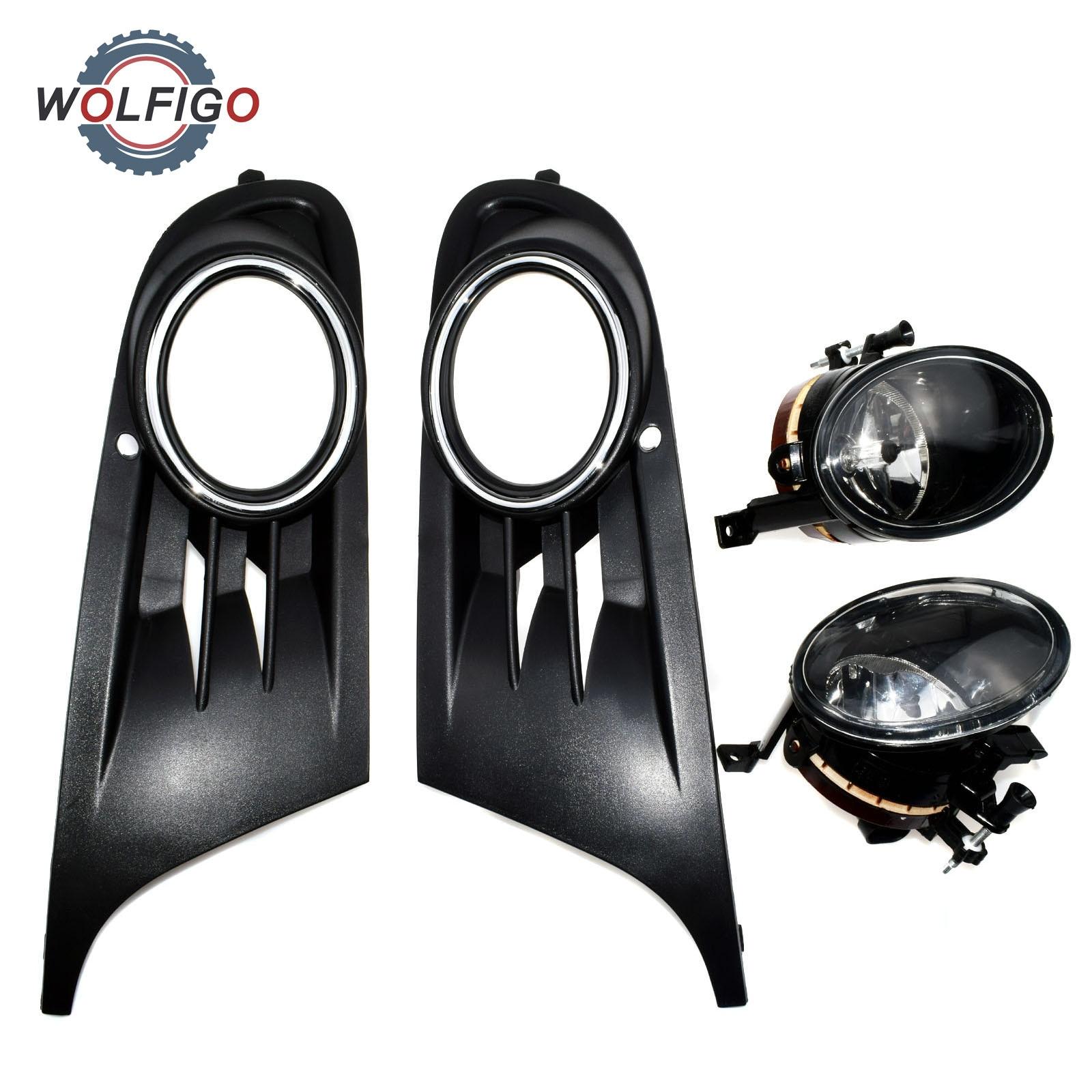 WOLFIGO New Front Left Right Convex Lens Fog Light Fog Lamp Grill for VW Jetta Golf