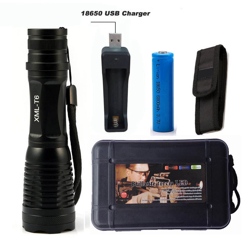 5000Lumens Flashlight LED CREE XM-L T6 Torch Camping Light Zoomable Tactical Flashlight Lamp + 1*18650 Battery + USB Charger xm l t6 led zoomable led flashlight torch 26650 18650 rechargeable battery usb charge mobile power bank tactical camping torch