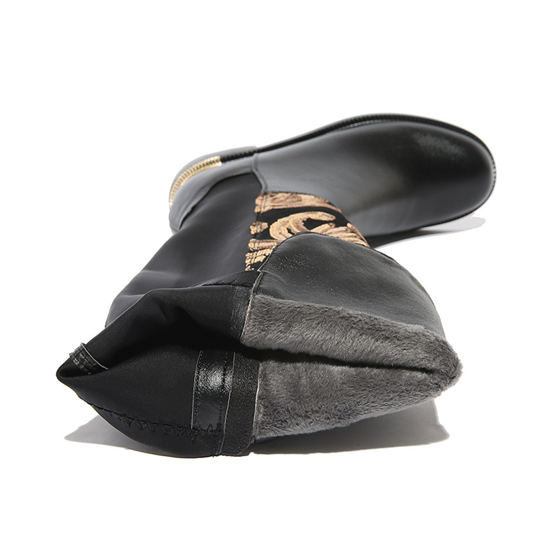 Extensible D'hiver Talon 34 Odetina Femmes Grande Véritable Genou Femme Caché Tissu Cuir Haute Taille Noir Mode Zip 2018 Bottes Nouvelle 42 En Yfgv67by
